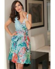 16 DAMSEL IN A DRESS SILK WATER COLOUR AQUA PRINT MOCK WRAP WEDDING CLASSY PARTY