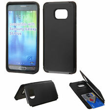 FOR Samsung Galaxy S6 Edge+ Plus BLACK 1 CARD WALLET RUBBERIZED CASE SKIN COVER