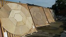 BRADSTONE SANDSTONE CIRCLE & HEXAGON INSET PATIO PAVING 2.4M FOSSIL BUFF 21627