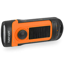 Ivation Hand Crank & Solar Powered 3 LED Flashlight IPX6 Waterproof Battery less