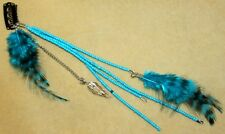 BLUE FEATHER TRIBAL Hippie Boho Burlesque Belly Dancing Hair CLIP PIN EXTENSION
