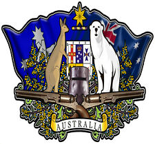 Australian coat of arms DECAL  NED KELLY BUNDY BEAR 160MM BY 150MM