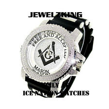 MENS ICED OUT ICE NATION SILVER/BLACK MASONIC HIP HOP WATCH WITH BULLET BAND