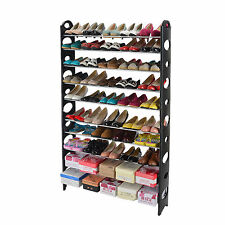 50 Pairs 10 Tier Shelf Shoe Storage Rack Adjustable Organiser Stand Cupboard NEW