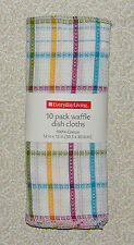 "10 WAFFLE Weave Cotton Dish Cloths Rags Kitchen Towels 12"" x 12"""