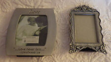 """2 Small Love Never Fails Metal Picture Frame 3.5"""" & 4"""" Roses 1.5""""x2"""" Pict."""