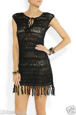 Melissa Odabash S black crochet beach dress NEW fringed macrame bikini cover up