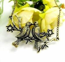 vintage kissing bird couple on a branch charm necklace