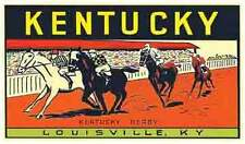 Kentucky--Derby Horse Racing  Vintage-Looking Travel Decal/Luggage Label/Sticker
