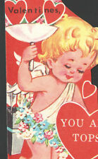 Vintage DOUBL GLO UnUsed Childs Valentines Card Cupid Quiver of Arrors