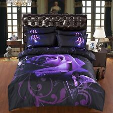 Double Size FLORAL BLACK PURPLE ROSE 3d duvet bedding set LIMITED wedding