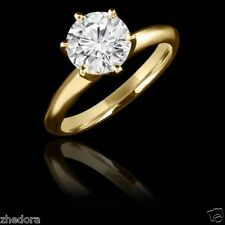 2.7 CT Round Cut Solitaire Engagement Wedding Ring Solid 14k Yellow Gold 6-prong
