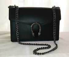 Designer BLACK Real Leather Satin Silver Serpent Clutch Handbag Chain Strap