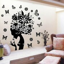 70*90cm Woman & Flowers New Art Vinyl Quote Wall Sticker Decal Mural Home Decor