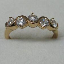 Dolly-Bijoux Alliance Vague T54 Demi-Rail Diamant Cz 5mm Plaqué Or 18K 5 Microns