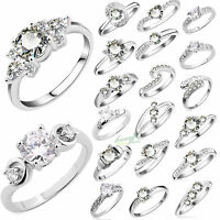 Women Fashion  925 Sterling Silver Rings Filled Wedding Engagement Jewelry Party