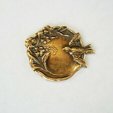Bird and Flowers Round Ox Brass Stamping Jewelry Findings no Hole.(3)