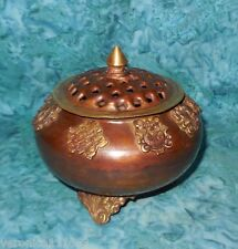 "Tibetan Offering & Burner Bowl 8 Auspicious Symbols NEW Incense Resin 4.3"" 9.5oz"