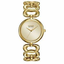 New Citizen EM0222-58P Eco-Drive Gold-Tone Stainless Steel Bangle Watch