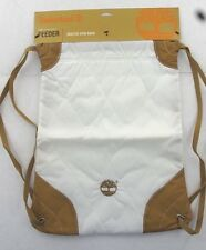 NEW Timberland Hub Collection Feeder Quilted Nylon Gym Sack - White/Wheat