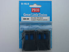 Peco O-16.5 Great Little Trains OR-52 Double Window Coach Panel - Pack of 6.