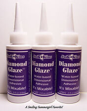 3 New 2oz JudiKins Diamond Glaze Clear Glass like finish  Paper Crafts & Jewelry
