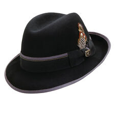 STACY ADAMS * BLACK WOOL FEDORA HAT * L XL * MEN CRUSHABLE LINED DRESS Godfather