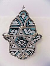 Moroccan Khamsa Hand Lucky Amulet Glazed Ceramic & Metal Tile Hang Wall Decor