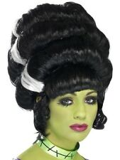 New Adult Womens Pin Up Frankie Wig Black Bride of Frankenstein Costume Wig