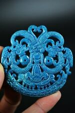 Perfect natural blue jade Two-sided dragon lucky pendant  JP198