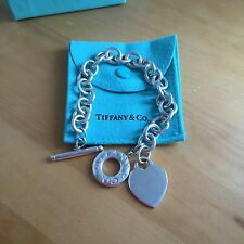 "Authentic RARE Length 8"" Tiffany & Co. Silver Link Heart Tag Toggle Bracelet"