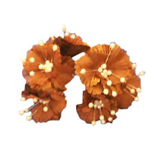 36 Silk Daisy Flower Favor Picks With Center Pearls - Brown