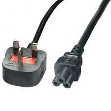 Power Cable UK Mains Male Fused Plug to IEC C5 Female Socket 5A (amp) 2m