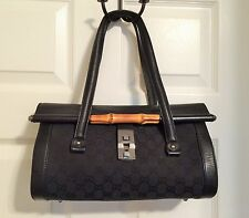 GUCCI Black Monogram Canvas and Leather Bullet Bag Satchel with Bamboo