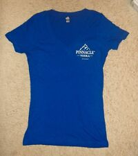 BRAND NEW Pinnacle Vodka Blue Women's T Shirt Ladies LG V-neck Tee Mountain Logo