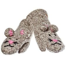 Delux Mimi Mouse Grey Pink Winter Warm Wool Gray Mittens Knitwits Knit Mitts NWT