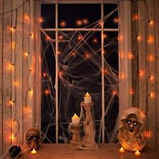 50 Halloween Orange Curtain String Lights Window Spooky Party Decoration LED