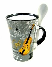 GREY VIOLIN Cappuccino Mug & Spoon Coffee Cup Fiddle PLAYER Present Music Gift