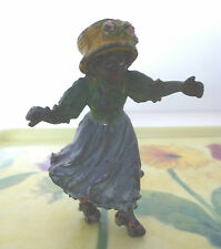 Early Bronze/Diecast Cold Painted Figurine of Coloured Girl on Roller Skates