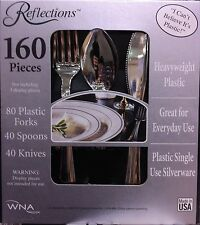 160 Pieces Reflections Heavyweight Plastic Silverware - Forks, Spoons, Knives