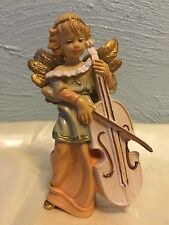 "Vintage 50s Signed ITALY Molded Plastic ANGEL PLAYING Cello 4.75""h Ornament"