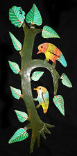 "80s HAITIAN PAINTED METAL SCULPTURE ""BIRDS on a TREE"" by A. LEANDRE 2nd (Stea)"