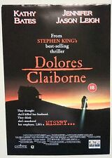 DOLORES CLAIBORNE / STEPHEN KING / ORIGINAL VINTAGE VIDEO FILM POSTER / 5
