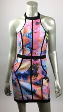 Finders Keepers small dress bodycon halter pencil winters birds electric rose