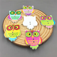 DIY 20X Owl Wood Buttons Fit Sewing Scrapbook Crafts 2 Holes Mixed color 30mm
