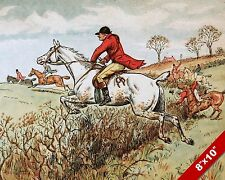 HEDGE JUMP FOX HUNT HORSE FOXHUNTING HUNTING ART PAINTING REAL CANVAS PRINT