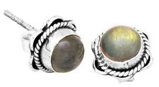 Labradorite Gemstone Stud Earrings Solid 925 Sterling Silver Jewelry IE21231