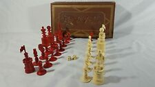 Antique Barleycorn Chess Set Pieces in Box Missing 1 Pawn Very Nice RARE 19th c.