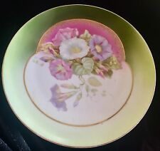 ANTIQUE RS PRUSSIA China Plate Hand Painted VIOLET & Pink Morning Glories Gold