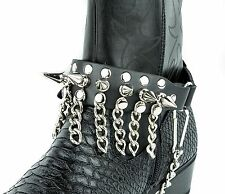 Spike Chain Leather Boot Strap Cowboy Western Punk Gothic Rave Bikers